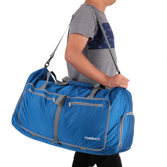 TOMSHOO Polyester Hand Gym Bags Sports Women Men 80L Foldable Duffle Bag Travel Fitness