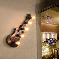Лофт промышленного ветер Гитары 5 глава E27 стены лампа бар стойка студии ретро гостиная Стад Арт освещения настенный светильник Z116650