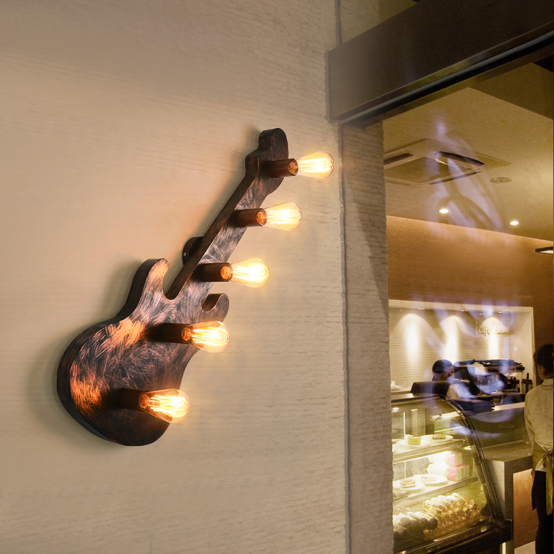 Loft industriel vent guitare 5 tête E27 applique bar comptoir studio rétro salon stud art éclairage applique murale Z116650