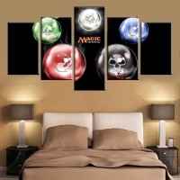 Canvas Art Unframed Cartoon Five Balls With Patterns Poster Pictures Modular Wall Paintings For Living Room