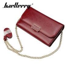 Baellerry Wallet PU Leather Metal Strap Shoulder Bag Women Long Solid Coin Pocket Passcard Card Holder Hasp