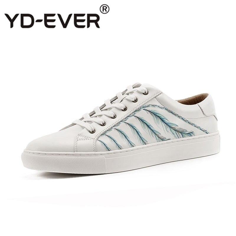 Весна Высокое качество на шнуровке кроссовки из натуральной кожи кроссовки Роскошные белые натуральная Корейская обувь с принтом мужская