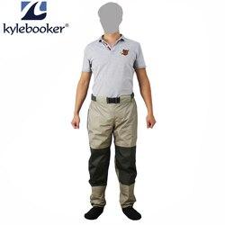 Fly Fishing botas a la cintura pantalón duradero impermeable pantalones vadeando pantalones de cintura transpirable con pie de almacenamiento