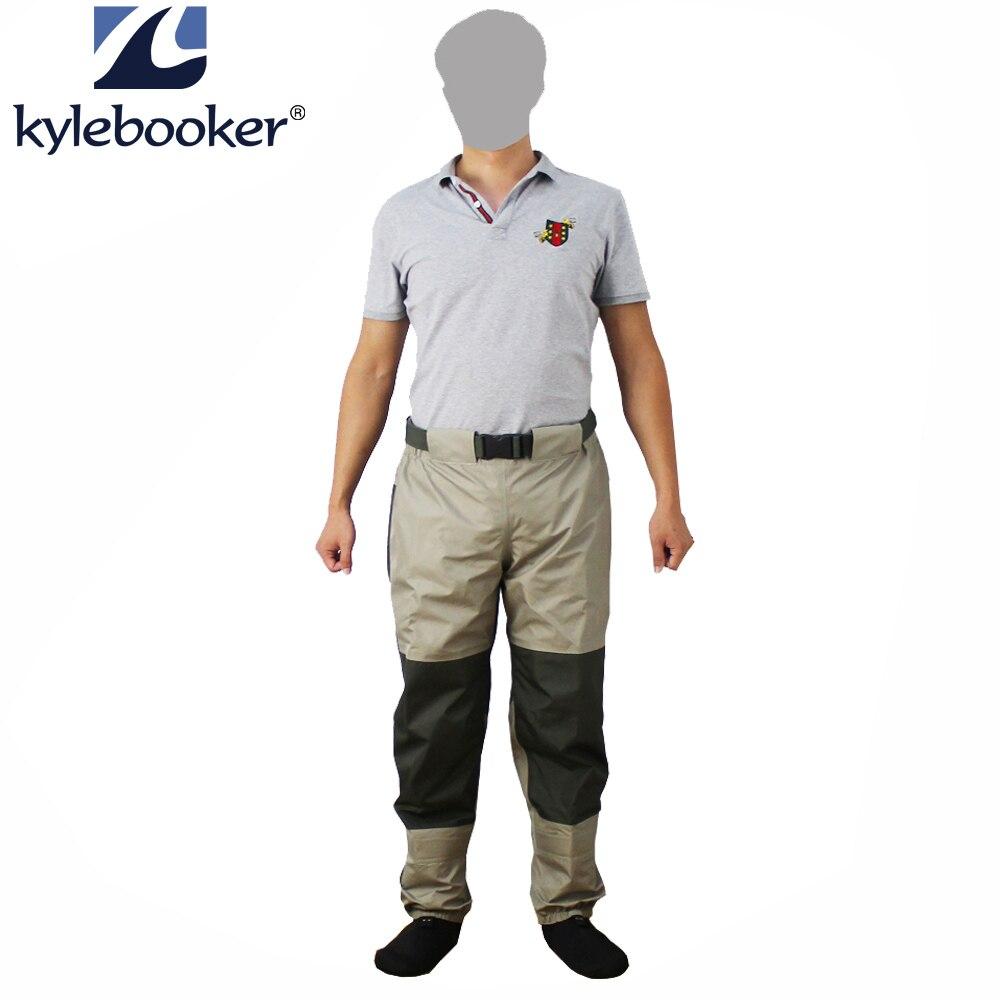 Pêche à la mouche Taille Échassiers Pantalon Durable Étanche pantalon de Patauger Respirant Taille Pantalon Avec Le Bas Pied