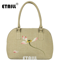 ETAILL Lotus Hand Painted Shell Tote Bags Women Handbags Shoulder Bag For Female Designer Printing Ladies