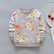 Для маленьких детей Детская футболка для мальчиков и девочек лиса топы для 1-4 года новый длинный рукав мультфильм рубашка-поло для малышей одежда пальто