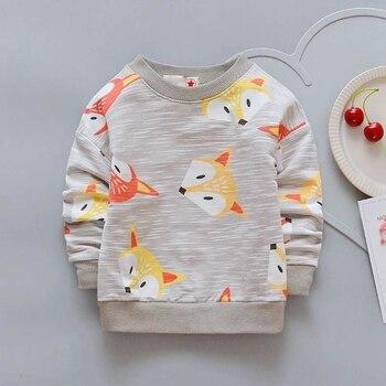 Enfants bébé enfants T-Shirt garçons filles renard hauts pour 1-4 ans nouveau manches complètes dessin animé doux T-shirts Bebes Infantil vêtements manteaux
