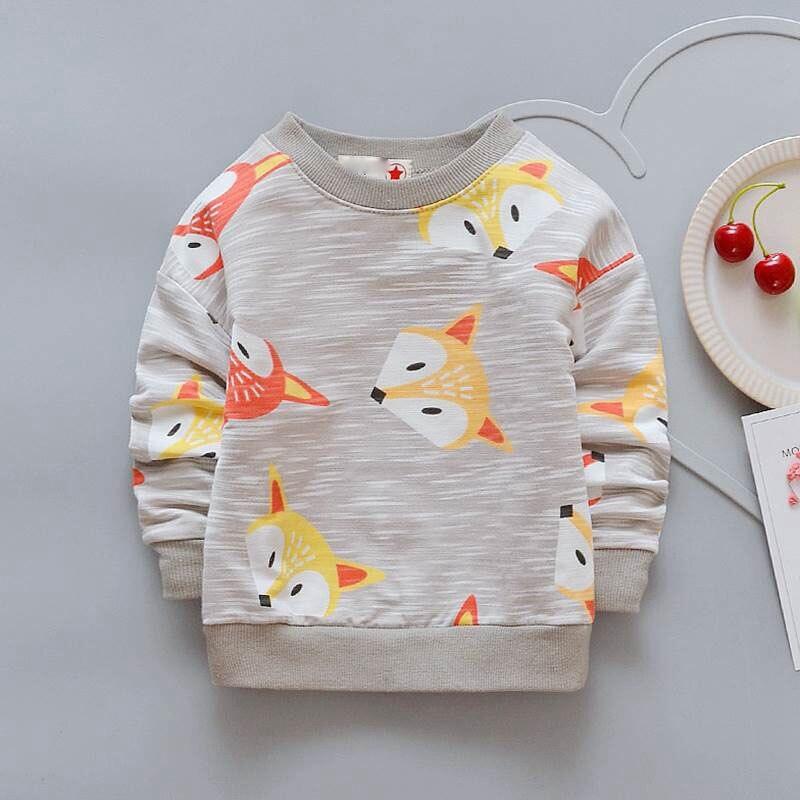Niños bebé niños camiseta niños niñas Fox Tops para 1-4 años Nueva historieta de La Manga completa camisetas suaves Bebes infantil ropa abrigos