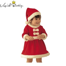 Christmas baby girls dress with free hat baby christmas new year costume fashion baby clothes newborn dresses for baby girls cheap A-Line Regular Casual Acetate Polyester Cotton French velvet Full Knee-Length Fits true to size take your normal size PureMilk