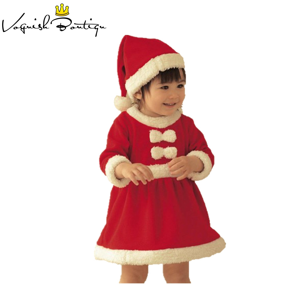 Christmas baby girls dress with free hat baby christmas new year costume fashion baby clothes newborn dresses for baby girls 2017 new baby girls