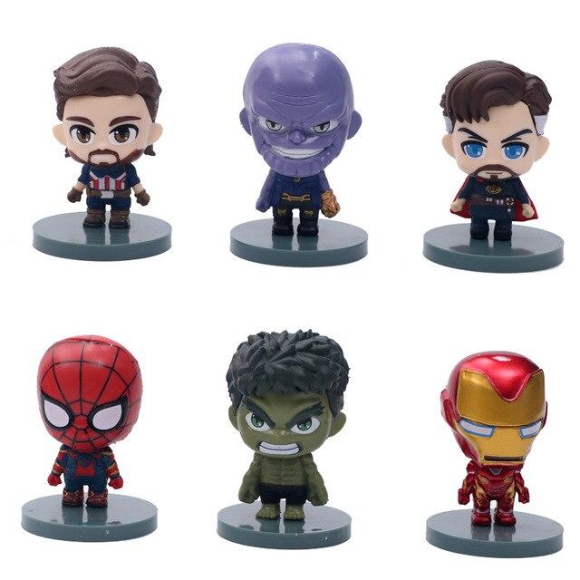 8 pçs/set chegada Nova Guerra Spiderman Homem de Ferro Avengers Loki Thor Hulk Homem Árvore Super Heróis Mini Figuras Brinquedos de PVC crianças