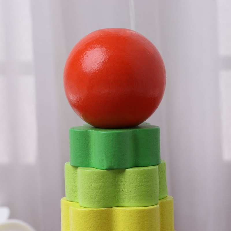 Baby Kid Education Wooden Toy Stacking Nest Learning Stack Up Rainbow Tower Ring