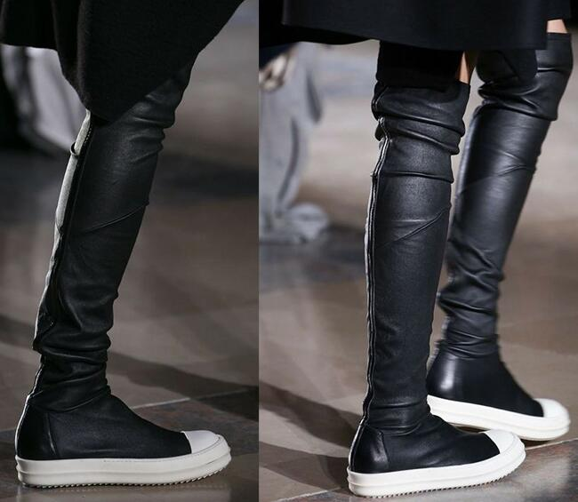 Latest Autumn Winter Women Over The Knee Boots Fashion Flat Bottom Skinny Stretch Long Boots Casual 2016