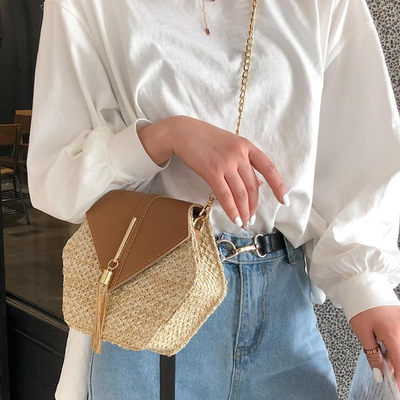Straw+pu Bag Handbags Hexagon Mulit Style Women Summer Rattan Bag Handmade Woven Beach Circle Bohemia Handbag 2019 New