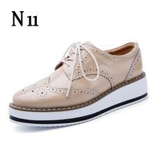 Marca 2017 Mujeres del Resorte Zapatos de Plataforma Mujer Brogue N11 de Patentes Pisos de cuero Atan Para Arriba Calzado Femenino Plana Oxford Zapatos Para mujeres