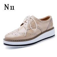 2017 New Brand Spring Women Platform Shoes Woman Brogue Patent Leather Flats Lace Up Footwear Female