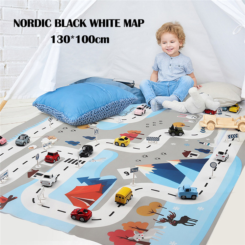 130*100cm Kids Play Mat City Road Buildings Parking Map Game Scene Map Educational Toys Toys Accessories Not Include Cars 30AP08