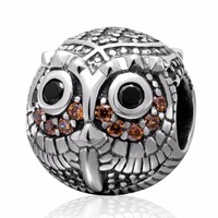 925 sterling silver owl pendants for women big hole beads fit DIY necklaces & bracelets Charms jewelry Wholesale