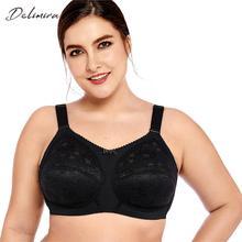 Delimira Для женщин размера плюс без подкладки бюстгальтер без косточек комфорт Поддержка полный охват кружевной бюстгальтер