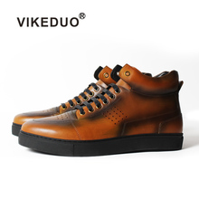 Vikeduo 2019 Handmade Elegant Tactical Boot Military Fashion Casual Luxury Genuine Leather Shoe Ankle Snow Winter Fur Men Boots