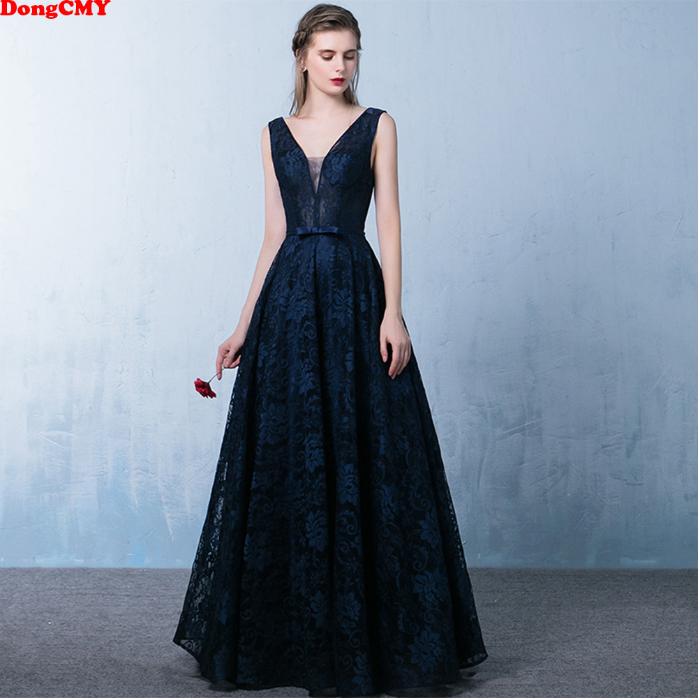DongCMY 2019 new arrival fashion formal Sexy backless v-neck women long elegant lace   evening     dress