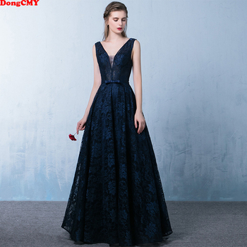 DongCMY 2020 new arrival fashion formal Sexy backless v-neck women long elegant lace evening dress
