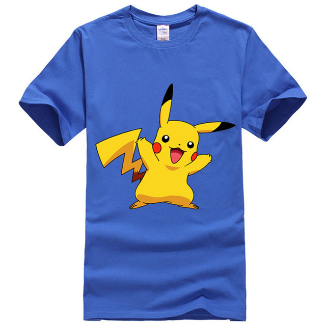 004a88a9c pokemon T-Shirt Men Blue Grey PikachuVictory Tee Shirts Homme Cotton Dry  Fit pokemon go Tops T Shirt anime Shirt XS-XXL