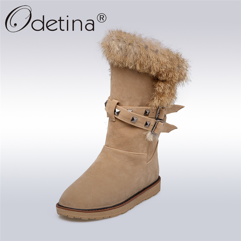 Odetina 2017 New Fashion Cow Suede Snow Boots Rabbit Fur Winter Keep Warm Platform Mid Calf Boots Buckles Flat Shoes Big Size 43