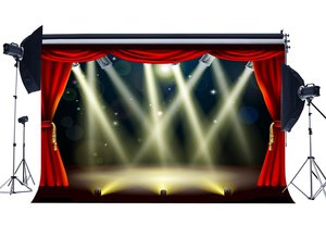 Image 1 - Escenario luces Hollywood telón de fondo cortina roja Bokeh brillo lentejuelas teatro fotografía fondo