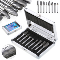 8pcs/set 1/4'' Shank Double Cut Carbide Burr Die Grinding Rotary Bit Set Abrasive Tools W/Case