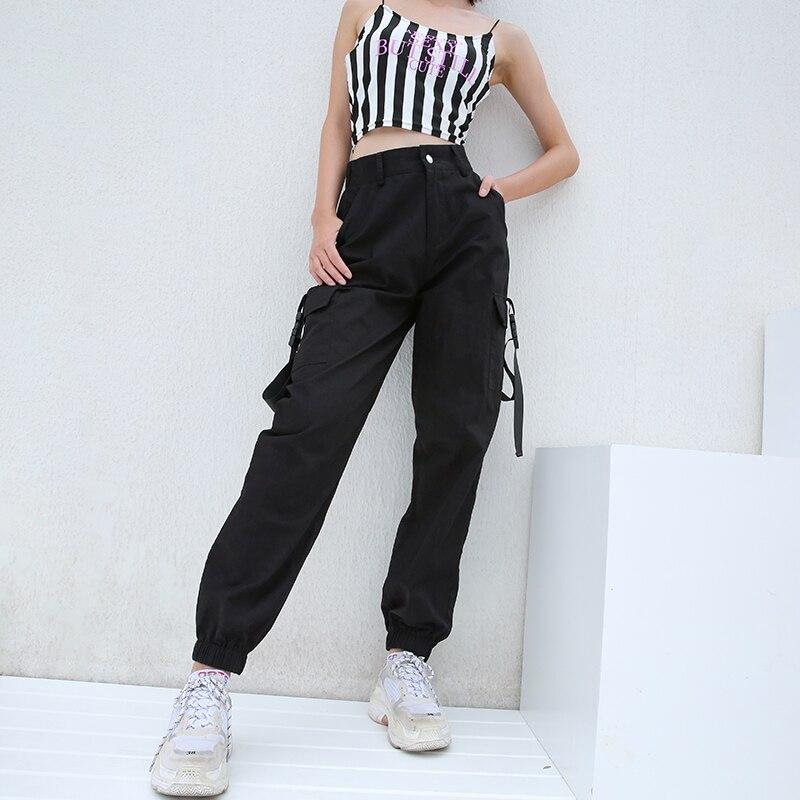 Women Casual Streetwear Cargo Pants Joggers Black Army Green High Waist Loose Female Trousers Korean Style Ladies Pants Capris