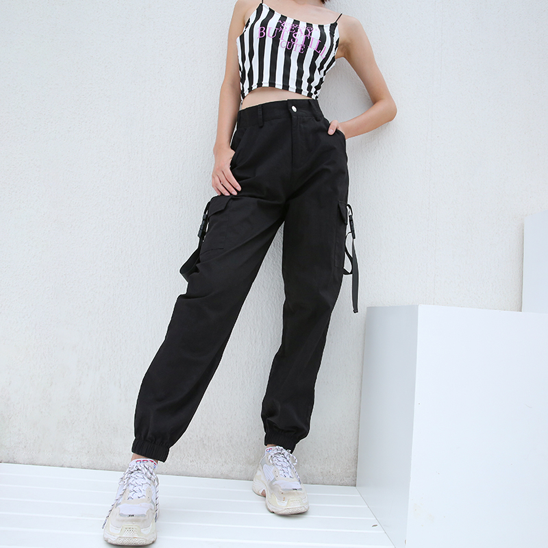 Women Casual Streetwear Cargo   Pants   Joggers Black Army Green High Waist Loose Female Trousers Korean Style Ladies   Pants     Capris