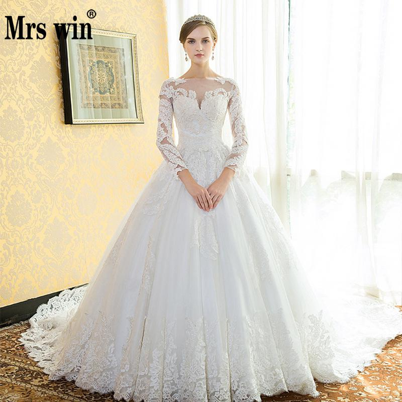 Vintage Wedding Dresses 2018 New Robe De Mariee Grande Taille Mrs Win Princess Illusion Lace Embroidery Wedding Dress