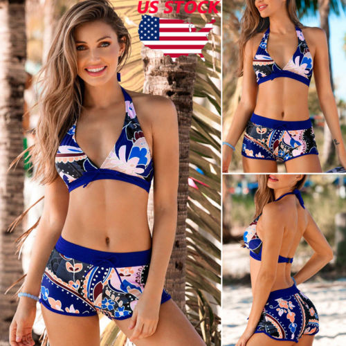Sexy US Women Push-up Padded Bra Bandage Print Bikini Swimsuit Swimwear Bathing Suit Shorts