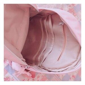 Image 5 - Orijinal japon yumuşak kız sırt çantaları pembe sevimli dantel yay çanta Kawaii bayanlar naylon sırt çantası öğrencileri günlük kız stil sırt çantası