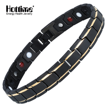 Hottime Luxury Men's Health Magnetic Anklet 316L Stainless Steel Therapy Healing  Power Anklets for Man Women 90001