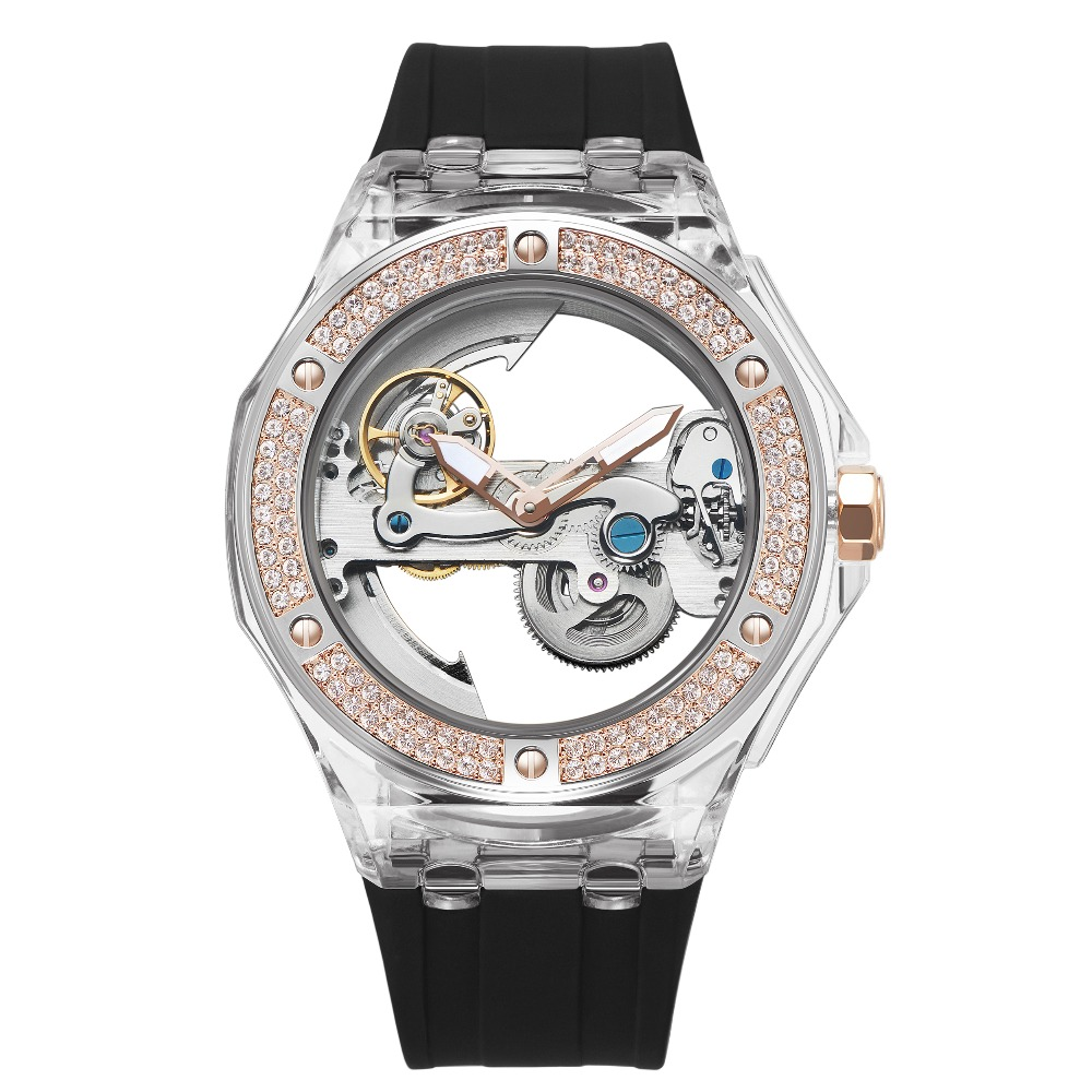 MATISSE Couple Crystal Dial Leather Strap Automatic Mechanical Watch Wristwatch