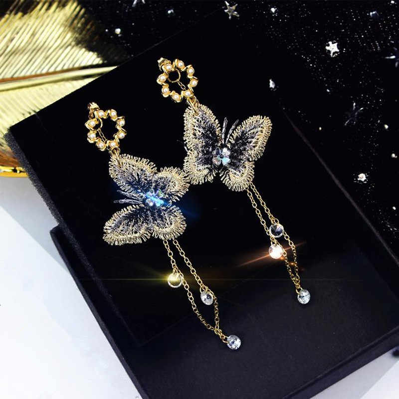 Dominated Women Fashionable Crystal Fringed Butterfly Earrings With Simple Temperament Exaggerated Personality  Drop Earrings