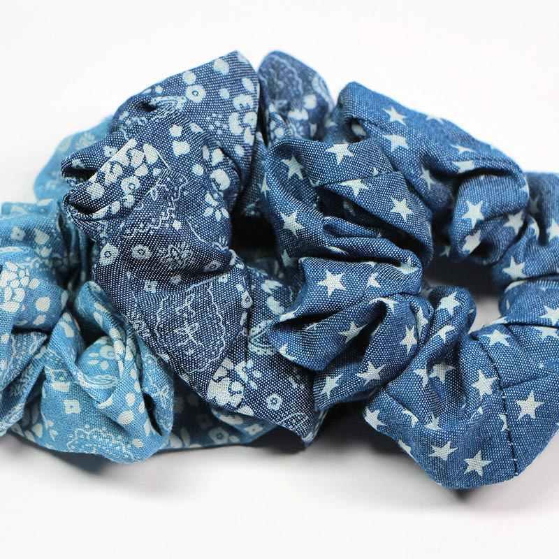 Elasticity Scrunchie hair rope women girls hair rings ties Fashion Blue Star  HairBand Ponytail Holder Wedding Hair Accessories