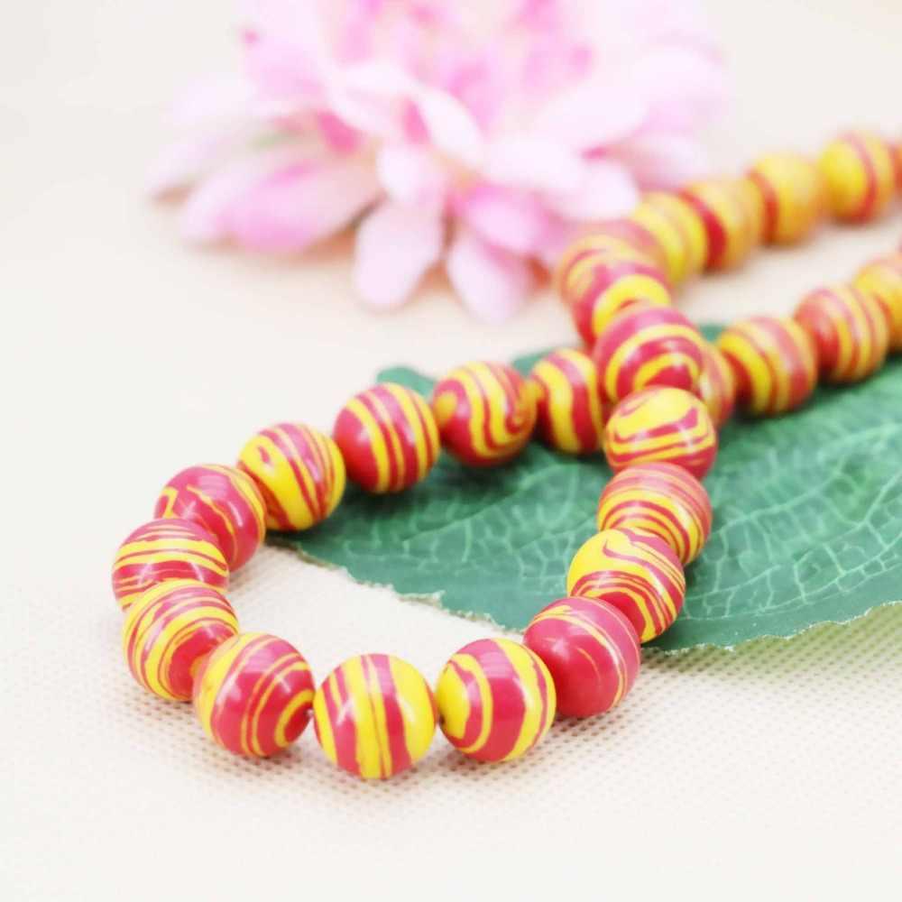 12 mét bán Hot Red & sọc Vàng Thổ Nhĩ Kỳ Đá DIY hạt Phụ Nữ Jewelry thủ công mỹ nghệ làm thiết kế 15 inch Cô Gái quà tặng đá Cho Vòng Đeo Tay