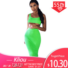 Kliou women fashion two pieces outfits solid Fluorescence sexy camisole top high waist skirt 2019 female fashion party club sets(China)