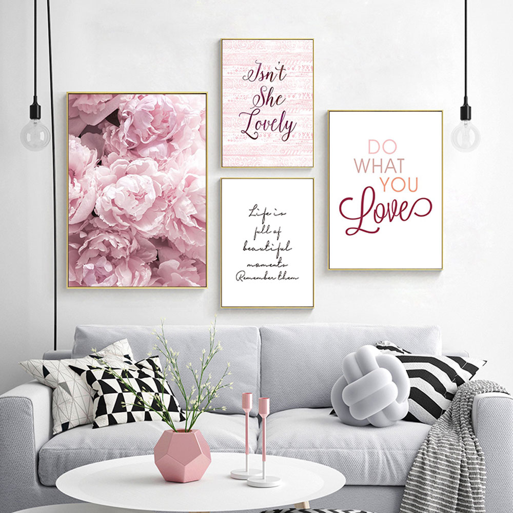 Pink Flowers Canvas Painting Nordic Poster Living Room Wall Pictures Quote Print Art Peony Flower Unframed