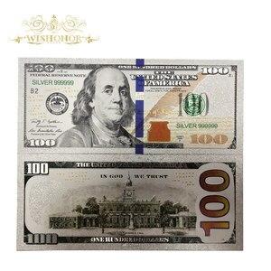 Bons billets américains plaqués argent 100 dollars, lot de 10 pièces, billet en papier plaqué argent 24K, pour cadeaux