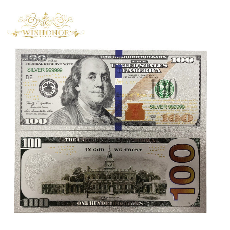 10Pcs/Lot Nice Silver Plated American Banknotes <font><b>100</b></font> <font><b>Dollar</b></font> <font><b>Bills</b></font> Banknote in 24K Silver Plated Paper Money For Gifts image