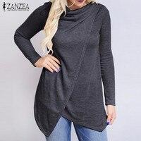 ZANZEA 2016 New Women Long Sleeve O Neck Blouses Fashion Ladies Solid Slim Button Asymmetrical Blusas