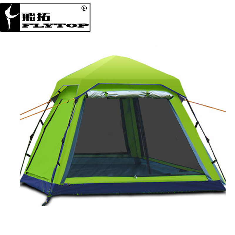 FLYTOP Camping Tent 3-4 person Summer Outdoor Equipment Single Family Tourism Beach Tents Three Season Waterproof Tent цена и фото