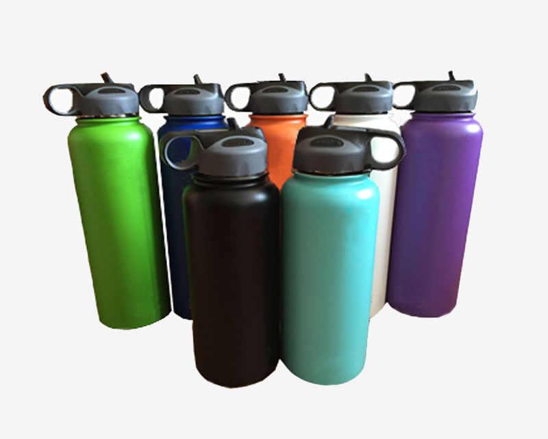 Nuevo frasco aislado de acero inoxidable botella de agua vaso de boca ancha taza de viaje enfriador de café con tapa de paja 18/32 /40 oz con logotipo