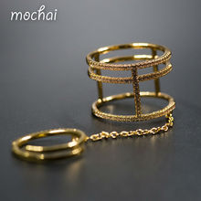 Mocai Design Luxury All Paved Cubic Zirconia Shinning Ring Multi Thin Layer Double Joint Rings jewelry