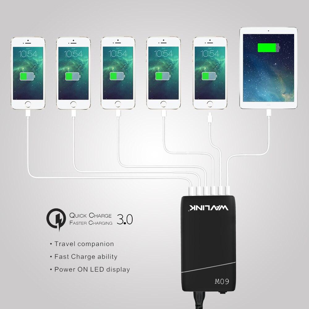 Wavlink 6 Ports USB Chargeur Station NODALE/De Bureau 60 w 12A Charge Rapide avec Adaptateur secteur pour iPhone samsung et tous les Téléphones Intelligents