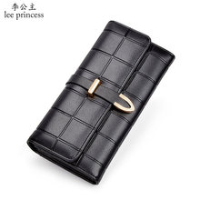 Lee Princess Plaid wallet for women ladies purse Soft PU leather With chocolate squares 8 Cards Phone Bag Girls Wallets Female(China)